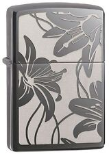 "Zippo Lighter ""Lily Design"" No 29426 on polished black ice chrome - New"