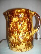 Rare Antique Rockingham Salt Glaze Stoneware Pitcher - Peacock - 1800s