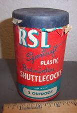 Vintage RSL sportcraft plastic Badminton Shuttlecocks, 2 in container still