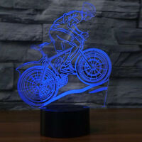 Mountain Bike Athlete 3D Illusion 7-Color LED Figure Night light Table Lamp Gift