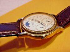 VINTAGE GOLD SEIKO TRIPLE DATE MOONPHASE MEN WATCH 7F39-6029