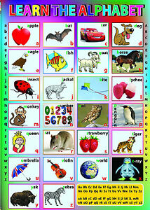 English Alphabet ABC large A2 laminated kids children wall educational Poster