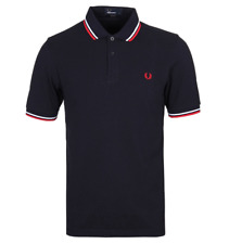 Fred Perry Polo T-Shirt - Navy Red White - Twin Tip - M3600 - 471