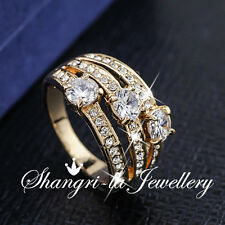18K GOLD GP Womens Wide WRAP RING Wedding Engagement SWAROVSKI CRYSTAL R2088