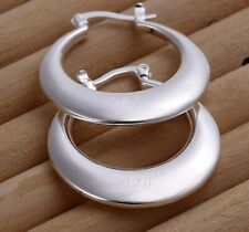 Classy Crescent Hoop Earrings 1.1 inch Womens 925 Sterling Silver Round Smooth