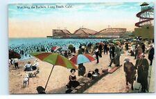 *Sun Bathers Tanning Umbrellas Crowd Roller Coaster Long Beach CA Postcard C14