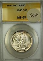 1943 Walking Liberty Silver Half Dollar 50c Coin ANACS MS-65 Lightly Toned GBR