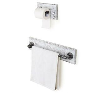 2-Piece Whitewash Wood Metal Pipe Wall Mount Bathroom Towel Toilet Paper Holder