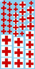 Red Cross Red Crosses Croix Rouges Decals 0 7/16-1 1/8in 1:24 Decal