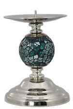 NUEVO Azul/Aguamarina Mosaico One Bola Portavelas/candleabre/Candelero 18cm