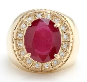 10.55 Carat Natural Red Ruby and Diamonds in 14K Solid Yellow Gold Men's Ring