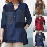 ZANZEA Womens Long Sleeve Button Up Blouse Tee T Shirt Check Plaid Top Plus Size