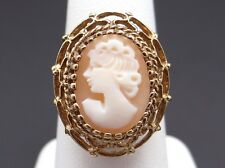 Vintage Estate 10k Yellow Gold Oval Shaped Carved Shell Cameo Ring Size 9.5