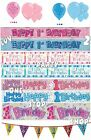 1st Birthday Boy Girl Pink Blue Glitz Party Banners Balloons Bunting Decoration