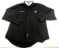 Vintage Mens Port Authority Black Embroidered CUMMINS Repair Sales Shirt L