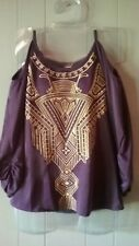 NEW NWT West 36th M Top Touchback Purple Gold Cold Shoulder Blouse Embroidered