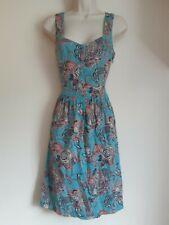 Fat Face Cerceta Azul Rosa Tribal Vestido Estampado de Plumas Indio Nativo UK 8 EU 36 nos 4