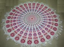 Indian Peacock Mandala Round Roundie Beach Throw Towel Hippie Yoga Mat Tapestry#