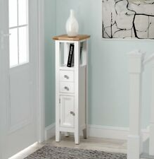 Small Oak White Painted Hallway Storage Cupboard/Tower | Cream Wood Corner Unit