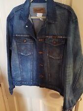 Wrangler men's large pre distressed jean jacket excellent condition