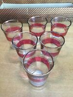 Vintage Set of 6 Red Rimmed Shot Glasses - Made in France