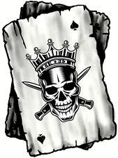 B&w Ace cartes à jouer avec couronné Roi Crâne Motif Vinyle Autocollant Voiture 100x75mm