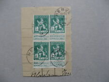 BELGIUM, 4x lion 5c on paper, canc. Herve 04-08-1914 (day of German Invasion)