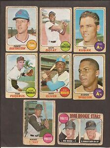 1968  OPC  Lot of 8 w/  MAURY WILLS + PIRATES Riokie Stars ( BOB MOOSE )  low gr