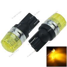 2 X Yellow 2 LED 5630 SMD T10 W5W Wedge Lens Light Car Bulb Lamp DC 12V A119