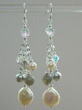 Vintage AB Crystals, Cream & Grey FW Pearls, Labradorite & 925 Silver Earrings