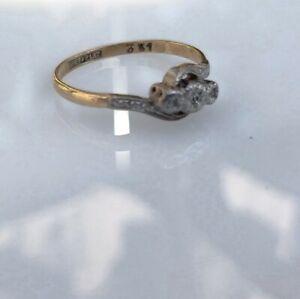 Diamond Trilogy Ring 18ct Gold & Platinum Ladies Size P