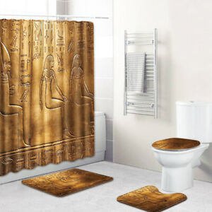 4 Pcs Egyptian-Style Bathroom Rug Set Soft Skidproof Toilet Lid Cover Bath Mat.