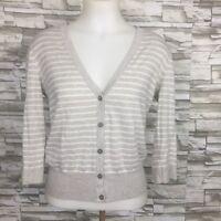 Ann Taylor Loft Women's Open Cardigan Beige Striped Pima Cotton Medium