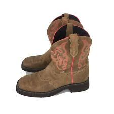 Justin Gypsy Western Cowgirl Boots Women's Size 7.5 B  Square Toe Leather Brown