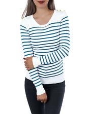 Pullover Longtop Herbst Pulli Top Strickpullover gestreift Sweater Shirt Knöpfe