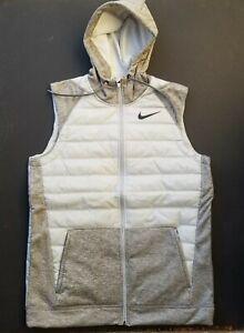 Nike Therma Synthetic Fill Full Zip Training Hooded Vest Gray Men's Size Medium