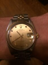 Rolex Date 1505 Mens Steel & Yellow Gold Watch Oval Link Jubilee Band Champagne