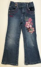 BARBIE Girls Kids Denim Bootcut Jeans Pants Size 5 Floral Embroidered Sequin