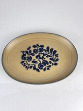 """Pfaltzgraff Filk Art 12"""" Serving Platter Stoneware Tan Blue #007"""