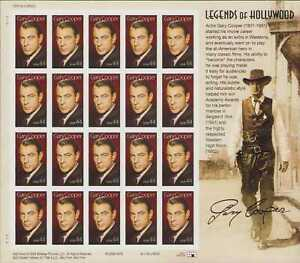 4421 44¢ LEGENDS OF HOLLYWOOD GARY COOPER SHEET OF20 FOREVER STAMPS MNH