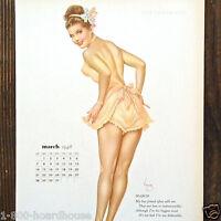 Vintage Original SEXY VARGA GIRL Miss March Calendar Sheet 1948 NOS Unused