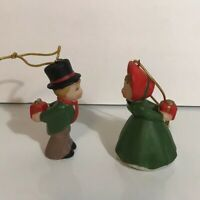 Vintage Enesco Kissing Couple Christmas Ornaments w/ Gifts Presents Behind Back