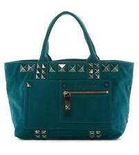 New with Tag- $395 Marc Jacobs Teal Canvas Chipped Studded Tote Bag