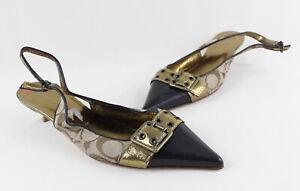 Coach NWOB Women's Beige Brown Logo Print Slingback Pointed Toe Heel Shoe 7.5