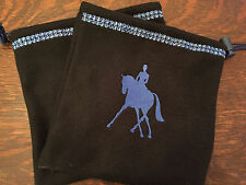 Custom Stirrup Covers Black Fleece Embroidered Dressage Rider Blue Bling