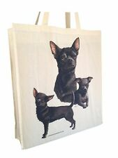 Chihuahua (b) Cotton Shopping Bag with Gusset and Long Handles Perfect Gift