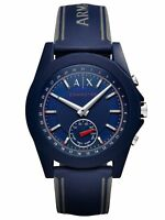A|X Armani Exchange Connected Men's Blue Silicone Hybrid Smartwatch 44mm AXT1002