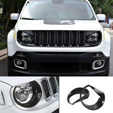 2pcs Headlight Bezels Cover Trim Kit Moulding Decal For 2015-2018 Jeep Renegade