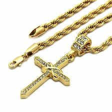 """Mens 14K Gold Plated Slim X Cross Hip-Hop 4 mm/24"""" Rope Chain With pendant"""