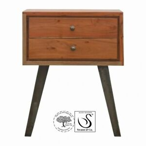 Caramel Bedside/Side Table with Iron Legs